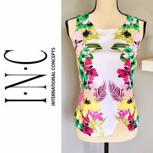 I.N.C. Sleeveless Floral Print Multicolor Top Sz S